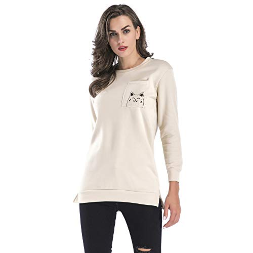 Sweatshirt Printed Cat Trend Pocket O Classic Simple RedBrowm Pullover Black Neck Smile zUwpOW5nqY