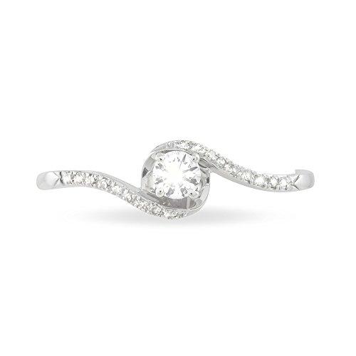 HISTOIRE D'OR - Bague Or Blanc Coralie Diamant - Femme - Or blanc 375/1000