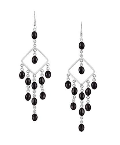 Natural Black Onyx Earrings 925 Silver Overlay ()