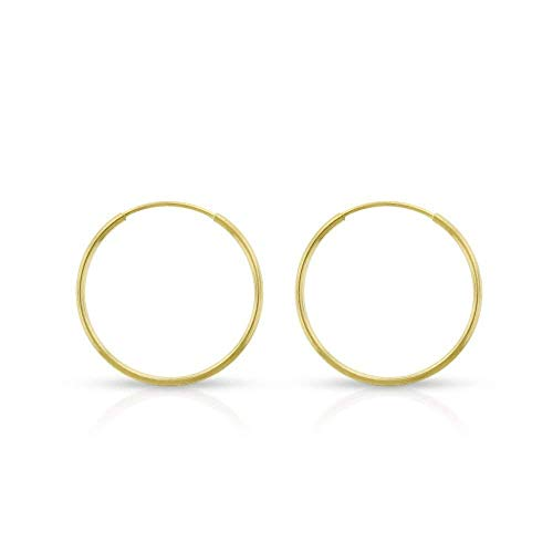 14k Yellow Gold Women's Endless Tube Hoop Earrings 1mm Thick 10mm - 20mm (14mm) ()