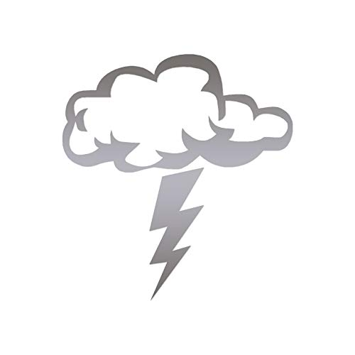 "Storm Cloud Lightning Bolt - Vinyl Decal Sticker - 5.75"" x 6.25"" - Silver from Southern Decalz"