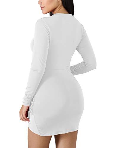 cf9193a5ff2 BORIFLORS Women s Sexy Wrap Front Long Sleeve Ruched Bodycon Mini Club Dress