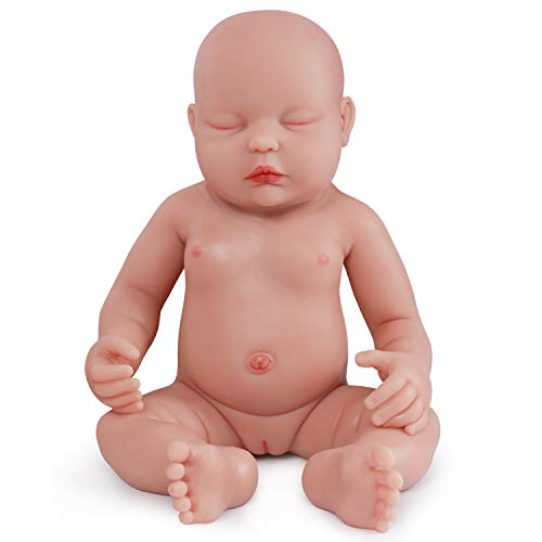 (vollence 18 Inch Eye Closed Full Silicone Baby Doll That Look Real,Not Vinyl Material Dolls,Sleeping Lifelike Baby Dolls,Realistic Newborn Real Baby Doll,Soft Handmade Silicone Alive Baby Doll - Girl)