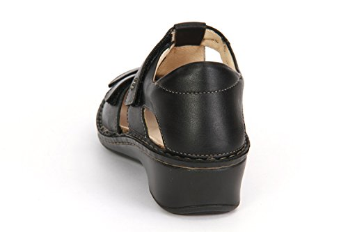 Comfort mujer para negro vestir negro Finn de Sandalias de cuero ZxadqwU6v
