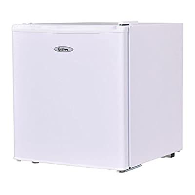 Costway Compact Single Reversible Dorr Stainless Steel Refrigerator and Freezer Cooler Fridge,1.7 Cubic Feet,Unit,White