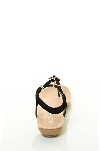 Forever Link Mujeres Metallic Heart Shape T-strap Open Toe Slingback Flat Sandalia Plana Negro