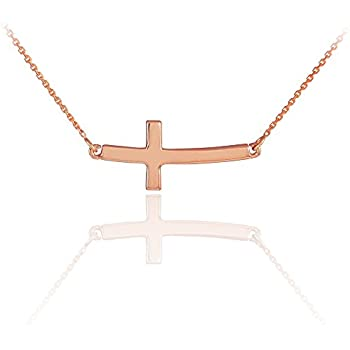 14k Solid Rose Gold Sideways Curved Cute Cross Necklace (16 Inches)