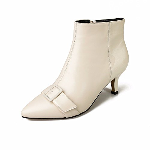 HXVU56546 Women Shoes Artificial Leather Boots With Fine Pointed Fashion Boots 9a11c Side Zipper With Belt Buckle Beige