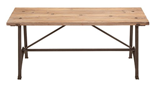 Deco 79 Restoration Metal Wood Bench, 41 by 18-Inch, Brown