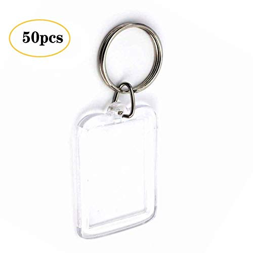 snailmon 50pcs Acrylic Photo Keychain Custom Frames, Personalized Snap in Insert Clear Blank DIY Picture Frames-2