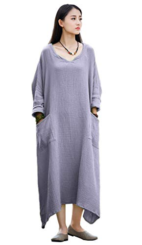 Soojun Women's Casual Cotton Linen Long Dress with Batwing Sleeve, Style 1 Slate Grey, One ()