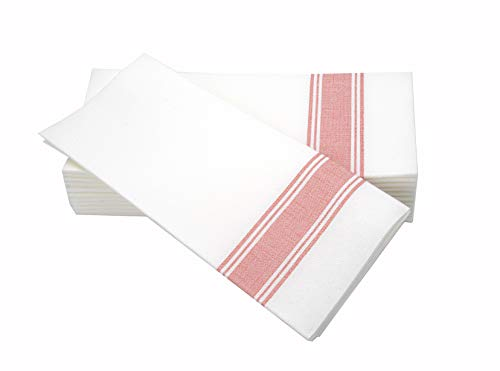 (Simulinen Dinner Napkins -RED Stripe Bistro- Decorative Cloth Like & Disposable Bistro Napkins - Soft, Absorbent & Durable (19