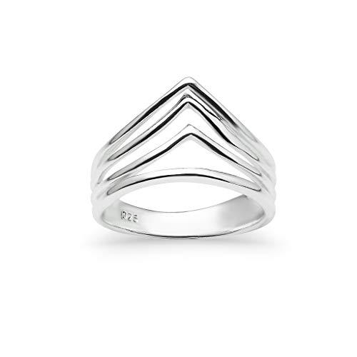 Sterling Silver Triangle Arch Chevron V Shape Ring | Fashion Geometric Minimalist Bands | Size 9
