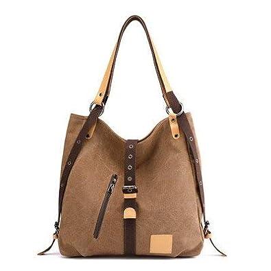 1522b9593c8dbf Amazon.com: SINTIR Brand Women Canvas Handbags Female Hobos Single Shoulder  Bags Vintage Solid Multi-pocket Ladies Totes Bags Color brown 35cm 11cm  35cm: ...