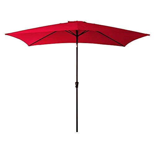 Deluxe Patio Umbrella Stand - FLAME&SHADE 6 feet 6 inch x 10 feet Rectangular Market Outdoor Patio Umbrella Crank Lift, Push Button Tilt, Red