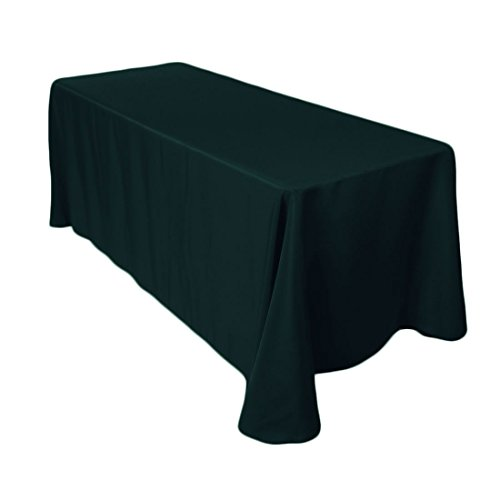 LinenTablecloth 90 x 132-Inch Rectangular Polyester Tablecloth Hunter Green Green Linen Tablecloth