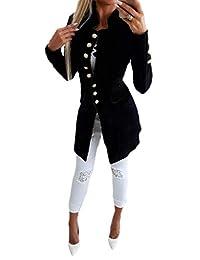 UUYUK Women Single Breasted Mid Length Slim Solid Long Sleeve Blazer Jacket Suit Coat