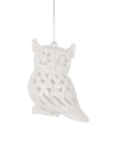 Snow White Glittery Hoot Owl Christmas Set of 2