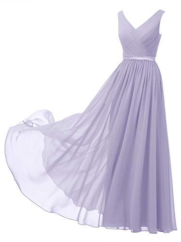 Alicepub V-Neck Chiffon Bridesmaid Dress Long Formal Gown Party Evening Dress Sleeveless, Lilac, US10