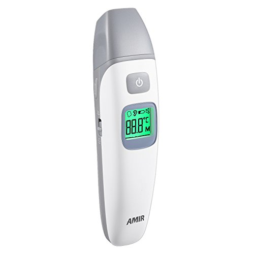 AMIR Forehead and Ear Thermometer, Infrared Digital Body Thermometer, Baby Thermometer with 1s Instant Read, Mute/Audible Switchable, FDA/CE/ISO Approved, Fever Alarm(Battery Included) by AMIR