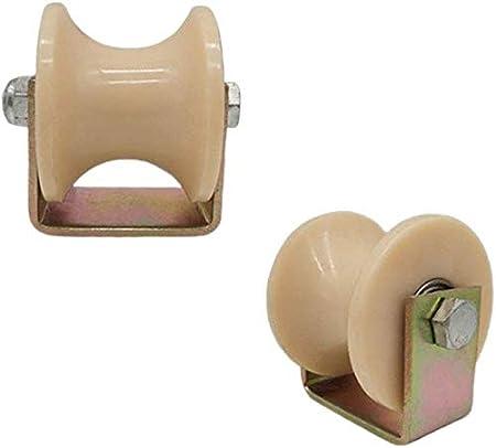 Rueda giratoria con ranura de arco de 2 piezas ruedas de nylon de alta resistencia polea direccional tipo C rueda de oruga para tubo redondo para máquinas industriales puerta corrediza