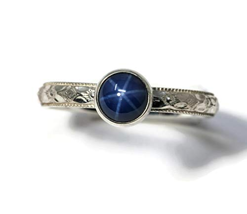 Size 7 6mm Created Blue Star Sapphire and Sterling Silver Ring on Symmetrical Flower Pattern Band (Created Blue Star Sapphire Ring)