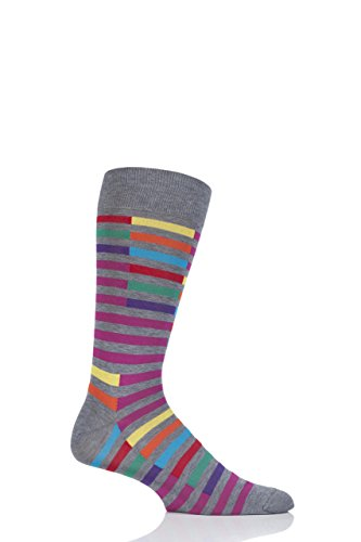 Mens 1 Pair Richard James Santos Staggered Stripe Cotton Socks-Mid Grey Mix 11-13 US Mens