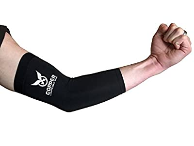 Copper Compression Gear PREMIUM Fit Recovery Elbow Sleeve - 100% GUARANTEED - #1 Elbow Compression Sleeve / Support Brace / Wrap For Workouts, Tennis Elbow, Golfers Elbow, And More!