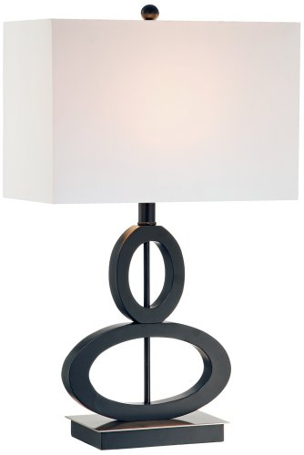 - Black and Satin Steel Asymmetrical Ovals Table Lamp