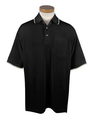 Tri-Mountain Conquest Mesh Pocketed Golf Shirt, 5XLT, Black/Khaki/White