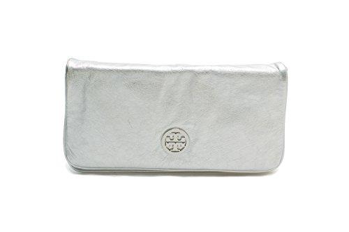 Tory Burch Reva Leather Crossbody Bag Clutch - Tory Silver Burch Bag