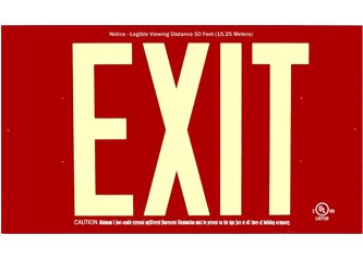 """Photoluminescent Non Electric Exit Sign 50' Viewing Distance with 7"""" Letters - UL Listed- No Electricity - Meet all Codes - Rigid Aluminum - 25 Year Life - Adjustable Arrows and Mounting Hardware"""
