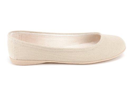 Andres Machado.AM527.Bailarinas de Lona. punta redondeada y Suela de goma muy flexible al tono. Bailarinas muy comodas. Disponibles en tallas de la 36 a la 45 LonaBeige