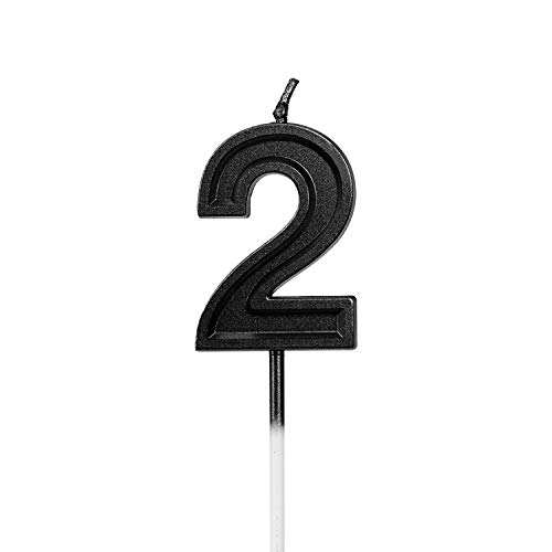 LUTER Black Glitter Happy Birthday Cake Candles Number Candles Number 2 Birthday Candle Cake Topper Decoration for Party Kids Adults (Number 2) (Candle Topper 2 Cake Number)