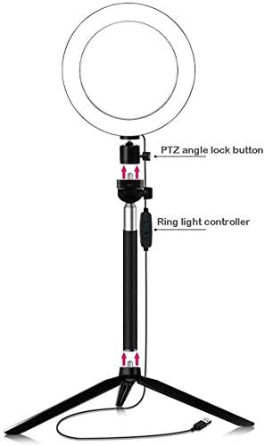 SUYIDAN Ring Light LED Floor Ring Light with Tripod USB Charging 3 Kinds of Light Mode Fill Light Network Live Selfie Lamp Ringlight Color : B, Size : 16cm
