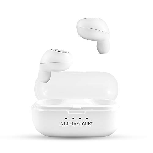 Alphasonik True Wireless Earbuds Bluetooth Noise Cancelling Waterproof Headphones Touch Control Sports in-Ear Earbud TWS Stereo Sound Mini Headset Built-in Mic Extra Bass with Portable Charging Case