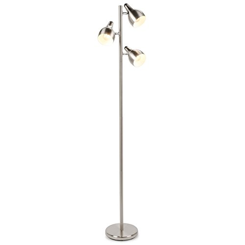 CO-Z 3 Lights Tree Floor Lamp, 3 Arm Task Standing Light for Uplight or Downlight, Brushed Nickel Spotlight Pole Lamp with 3 Adjustable Heads for Living Room Bedroom, Bright Corner Lamp with 3 Shades