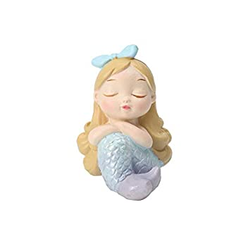 shovv Decoración Resina Ceramica Sirena Pequeños Adornos Creativos Nordic Girl Corazón Decoraciones para El Hogar Pecera