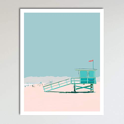Day At The Beach, Abstract Contemporary Tropical Beach Seascape Home Wall Art Decor Print Poster Modern Contemporary Boho Home Decor 11x14 Inches, Unframed