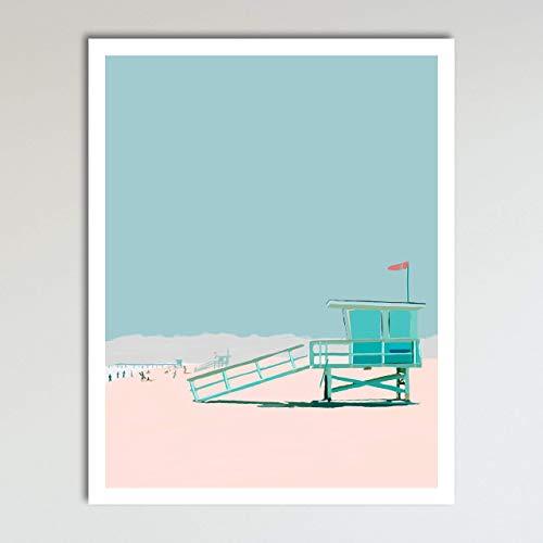 (Day At The Beach, Abstract Contemporary Tropical Beach Seascape Home Wall Art Decor Print Poster Modern Contemporary Boho Home Decor 11x14 Inches,)