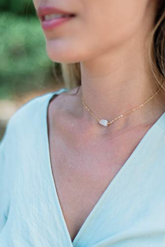 Raw rainbow moonstone crystal choker necklace in 14k gold fill - 12