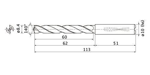 1.5 mm Point Length Mitsubishi Materials MMS0840X5DB Series MMS Solid Carbide Drill 10 mm Shank Dia. Internal Coolant 8.4 mm Cutting Dia 5 Hole Depth