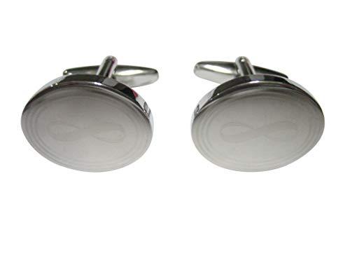 Kiola Designs Silver Toned Etched Oval Mathematical Infinity Google Googol Symbol Cufflinks