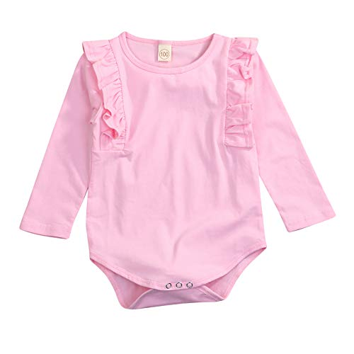 (GRNSHTS Newborn Infant Clothes Baby Girls Long Sleeve Ruffles Romper Jumpsuit(E Pink, 12-18 Months)