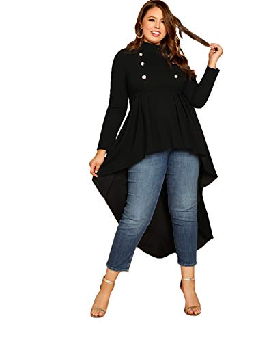 ROMWE Women's Plus Vintage Mock Neck Double Breasted Detail Asymmetrical Dip Raw Cut Hem Long Sleeve Flare Peplum Ruffle Blouse Shirts Top Blouse Black 2X