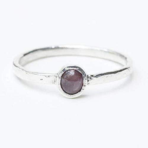 Brown Star Sapphire Solitaire Ring Silver Adjustable Size