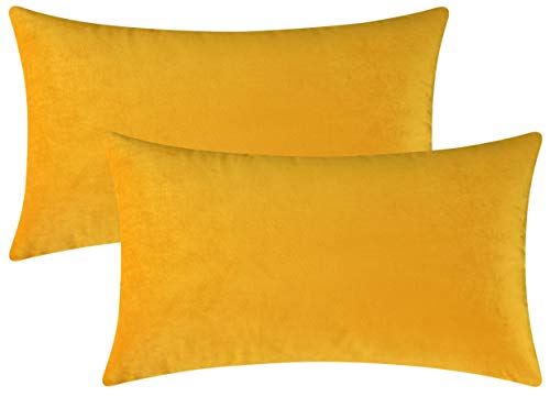- Mixhug Set of 2 Cozy Velvet Rectangle Decorative Throw Pillow Covers for Couch and Bed, Mustard Yellow, 12 x 20 Inches