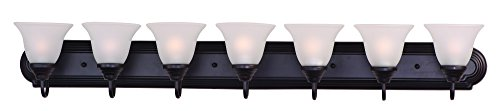 Maxim 8016FTOI Essentials 7-Light Bath Vanity, Oil Rubbed Bronze Finish, Frosted Glass, MB Incandescent Incandescent Bulb , 60W Max., Dry Safety Rating, Standard Dimmable, Opal Glass Shade Material, Rated Lumens by Maxim Lighting