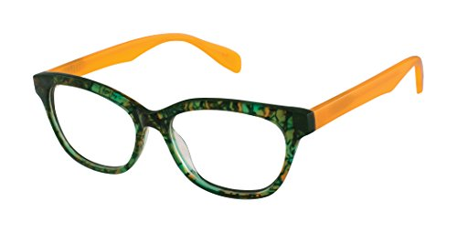 Clementine Street - Cat Eye Fashion Reading Glasses for Men and Women - Rainforest Citrus (Green Orange) (+1.25 Magnification Power) (Scojo Reading Glasses Street)