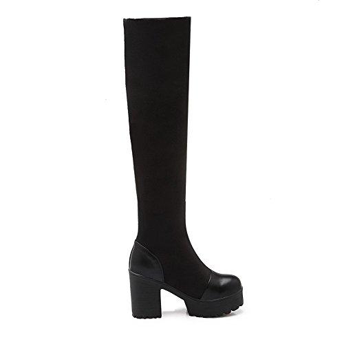 AgooLar Women's Round Closed Toe High-Heels PU High-top Solid Boots Black cm23r